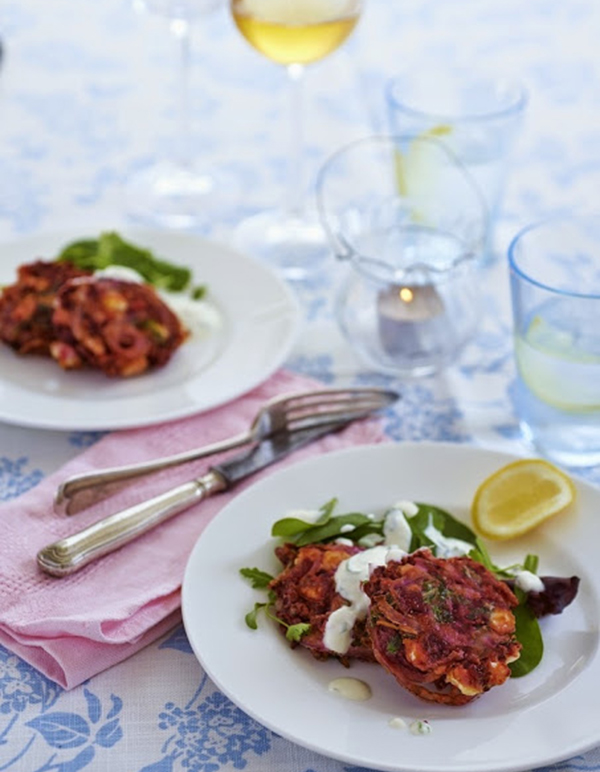 Beetroot, rocket and feta fritters