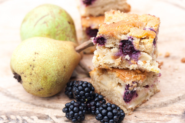Blackberry and Pear Tray Bake