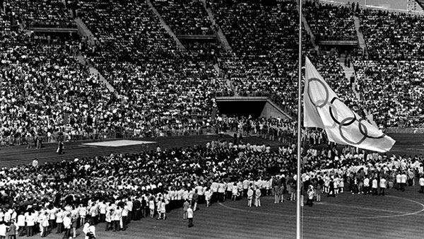 Flag at half mast in the suspended 1972 Olympic games