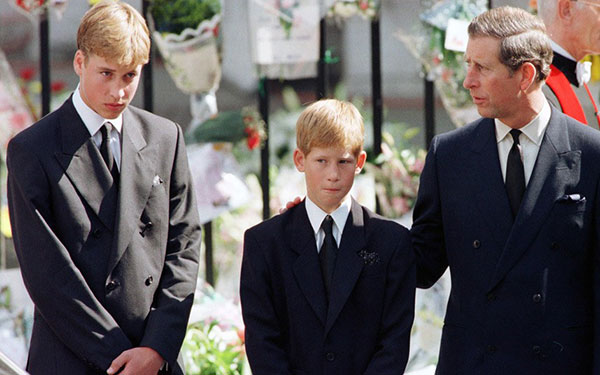 Prince William and Harry with Prince Charles at Diana's funeral