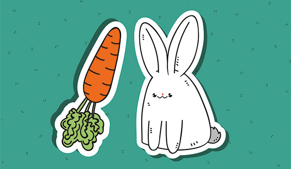 Bunny excited about phallic carrot