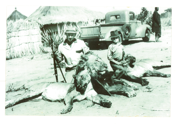 Wilbur Smith and two dead lions
