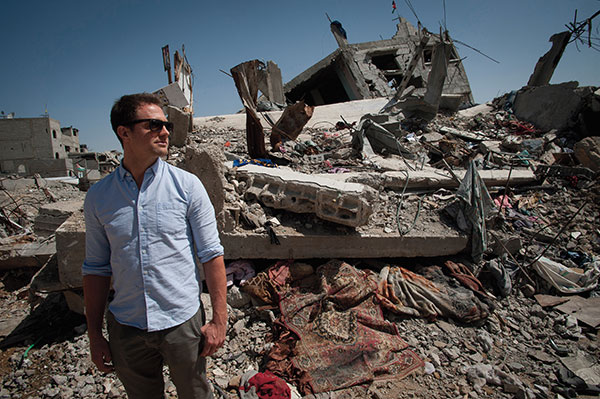 Sam looks over the most heavily bombed district in Gaza