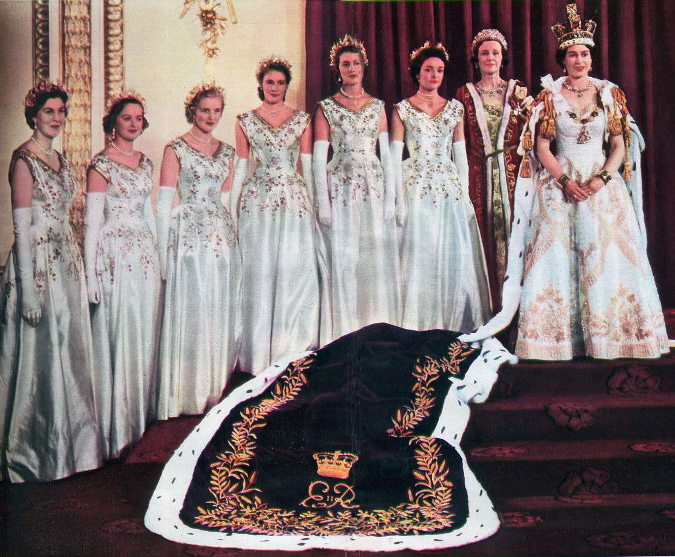Queen Elizabeth II with her Coronation Maids of Honour 1953