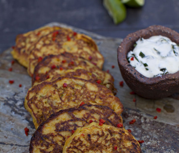 Leek & Carrot Fritters With Mint Yogurt