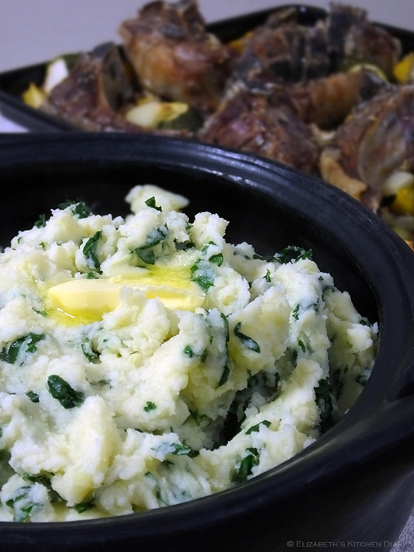 Cheesy mashed tatties and kale