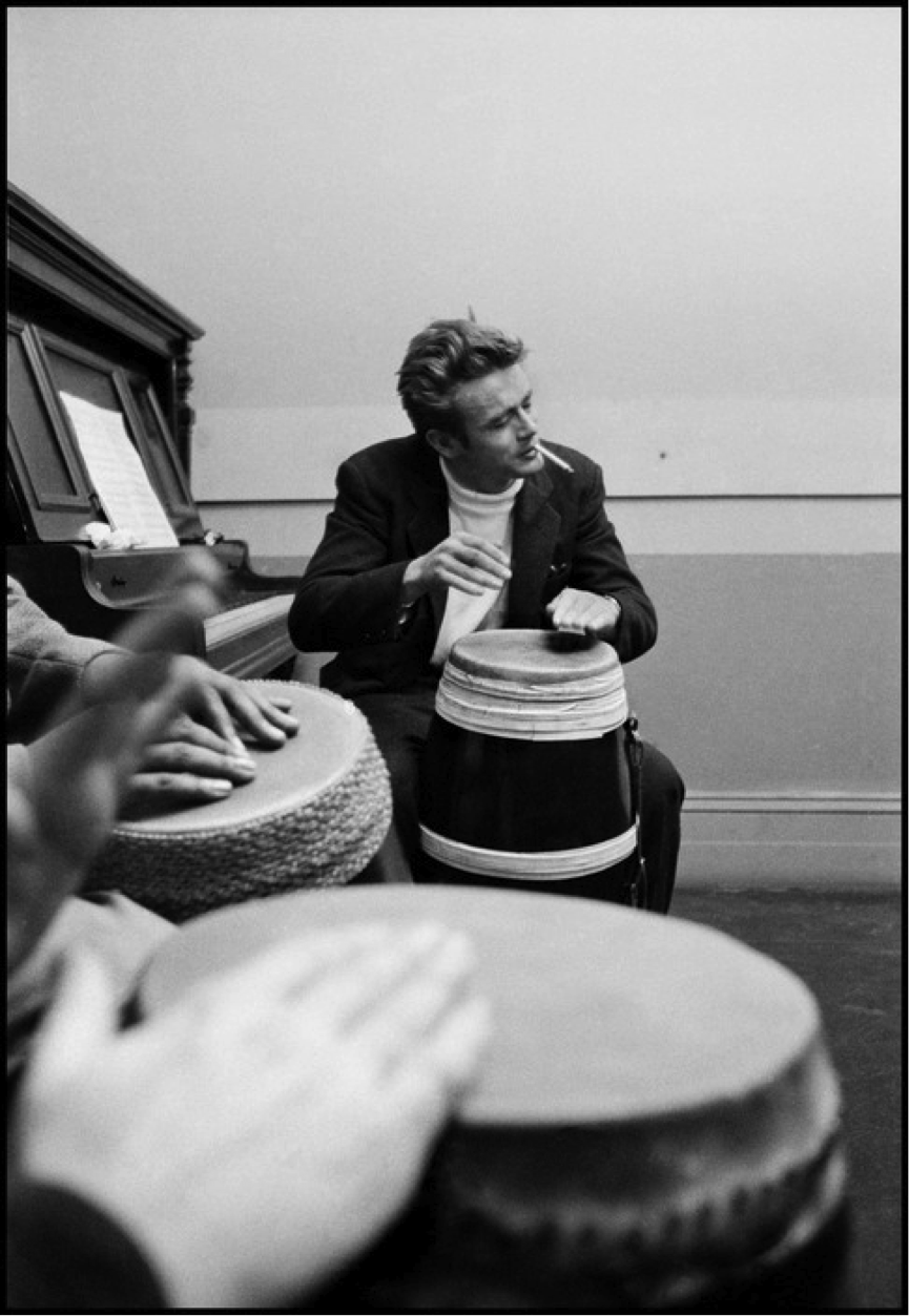James Dean playing the drums