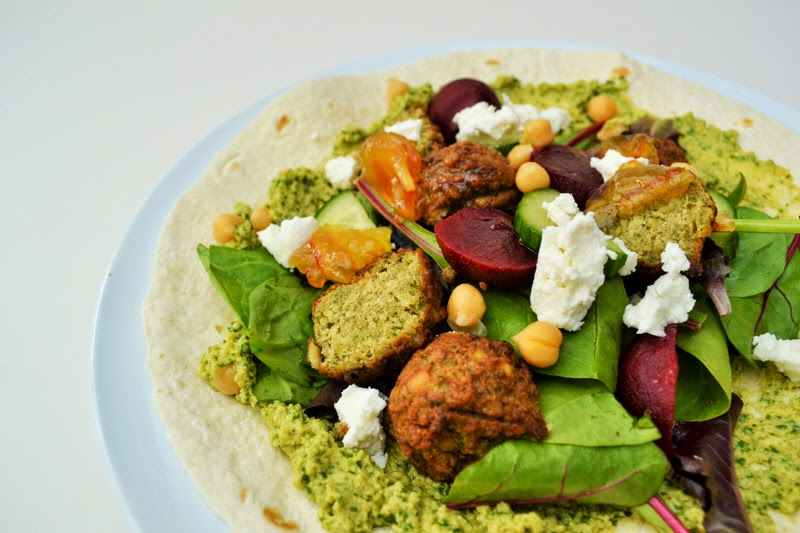falafel beetroot and goats cheese