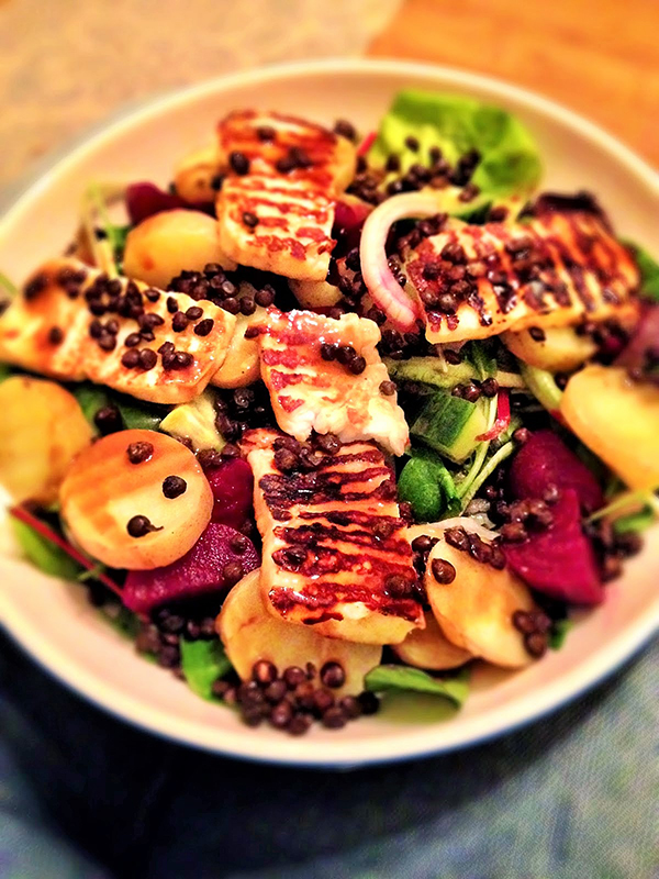 Halloumi, puy lentil and beet salad