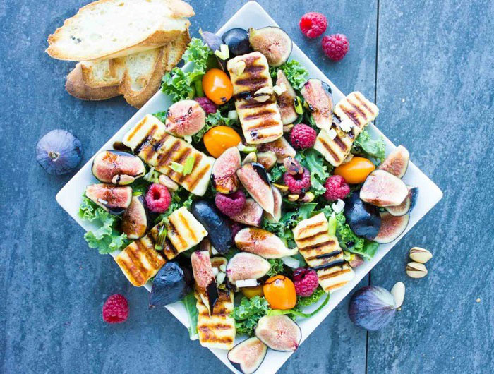 rainbow grilled halloumi salad