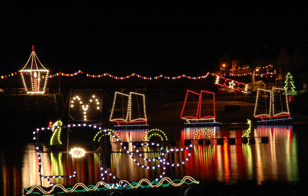 Christmas Lights in Mousehole Cornwall