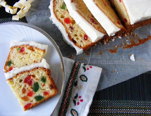 Iced cherry pound cake