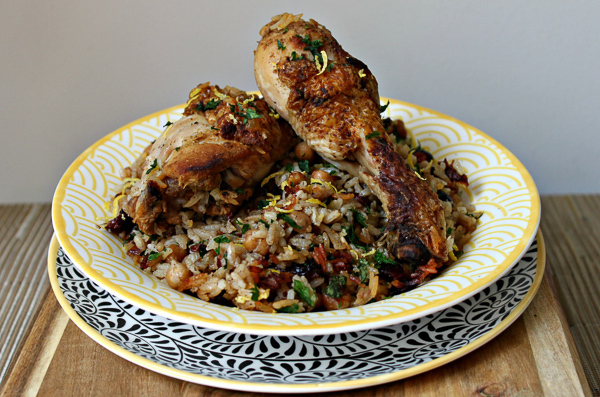 Middle Eastern spiced chicken with a chickpea
