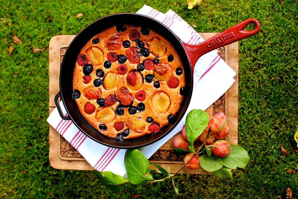 Plum berry upside down cobbler