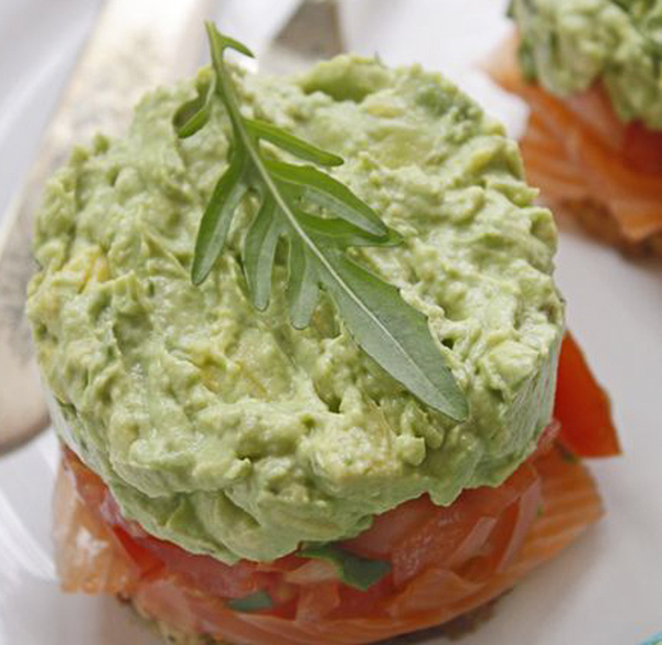 Smoked salmon and avocado stacks