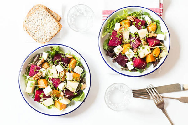 roasted beetroot salad with sweet potato and pear