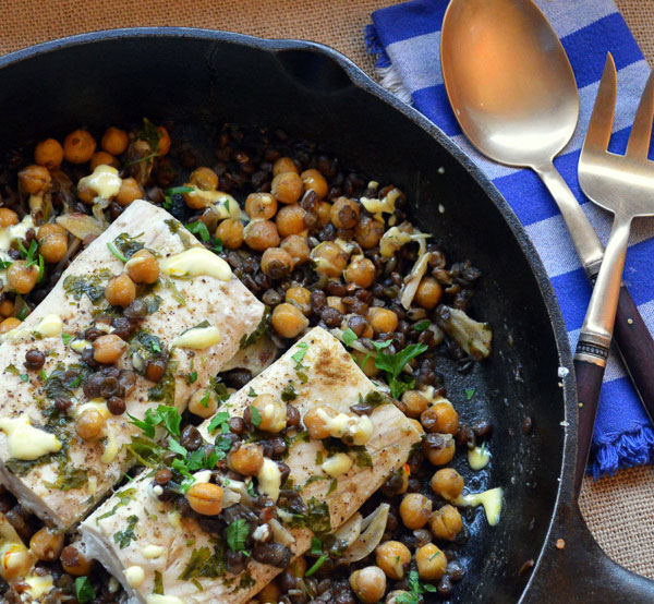 Moroccan fish with chickpeas and lentils