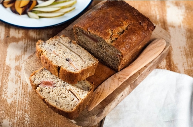 Pear and plum banana bread