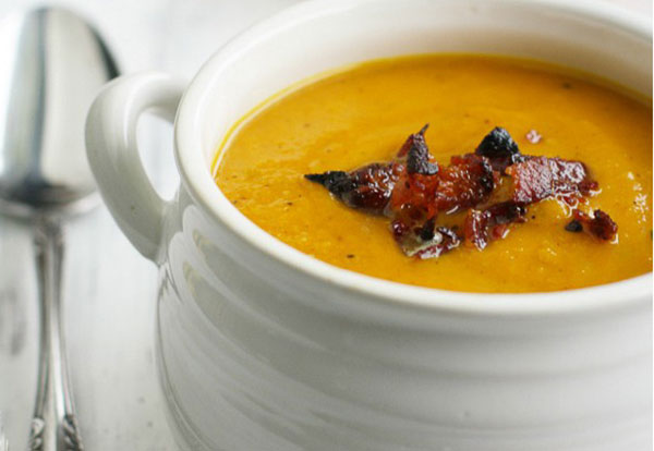 butternut squash and apple soup with bacon