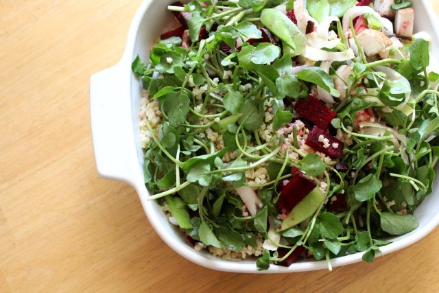 millet, watercress and lemon salad