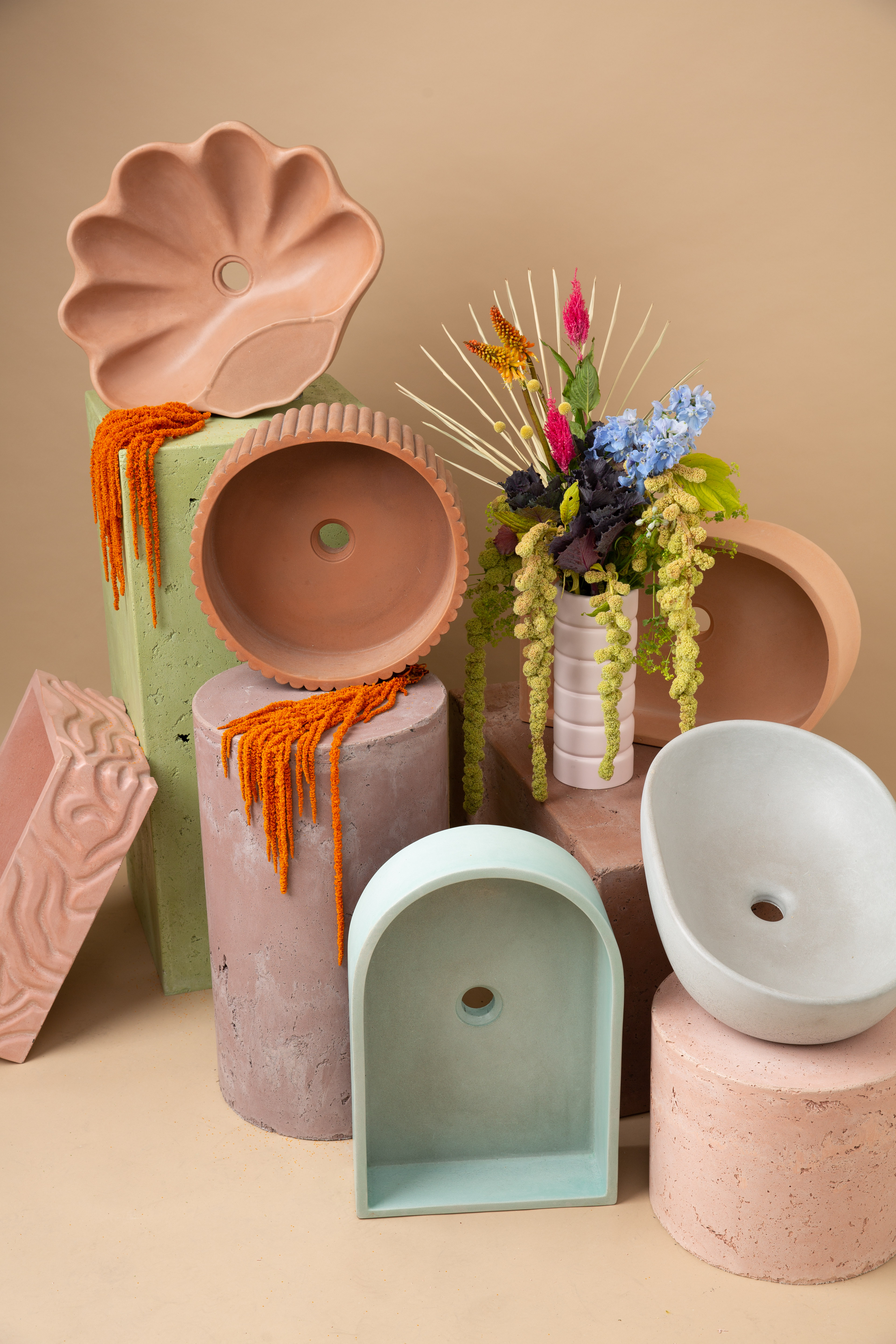 Smith and Goat concrete trays, sinks, and vases