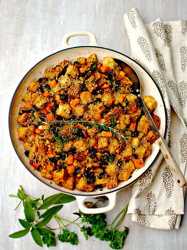 One pan squash and kale with sour cherries and pecans
