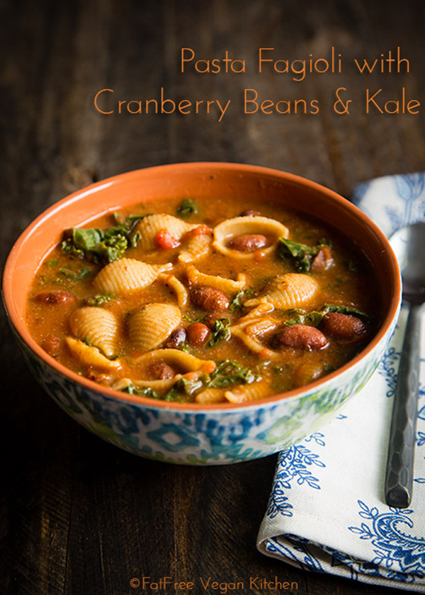 Pasta Fagioli with Cranberry, Beans and Kale