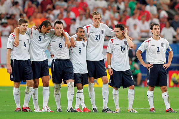 England at the 2006 world cup penalty shoot out against Portugal