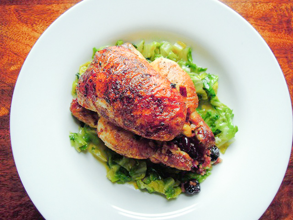 Stuffed Poussin with Pomegranate and Cherries