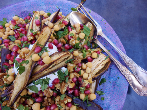 Aubergine, Chickpea and Walnut Salad with Pomegranate Yoghurt