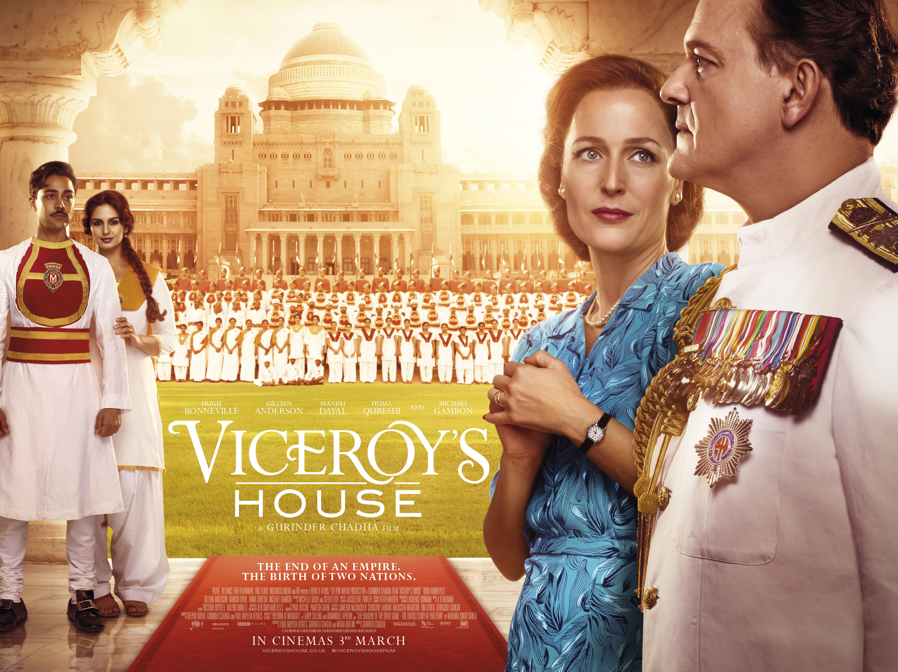 Viceroy's House, directed by Gurinder Chadha, starring Hugh Bonneville, Gillian Anderson and Om Puri