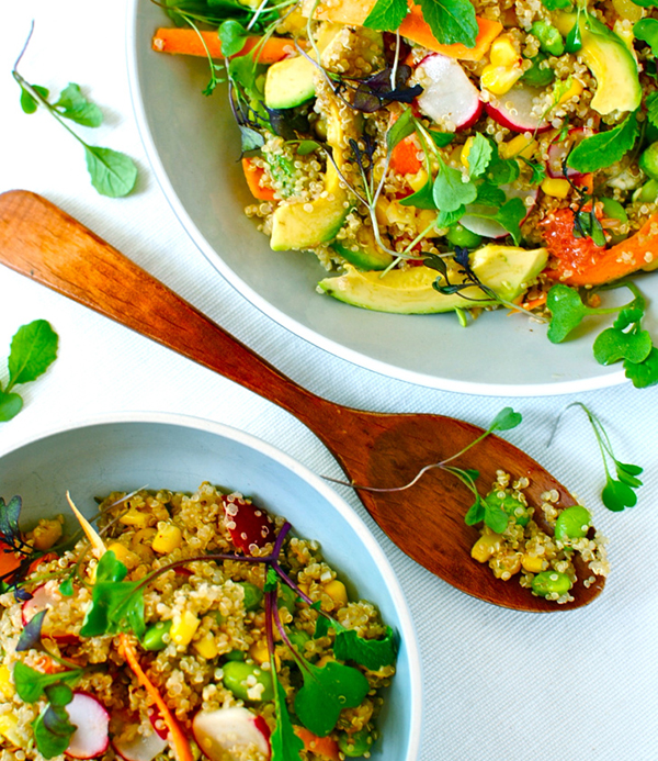 Quinoa bowl with citrus avocado and edamame