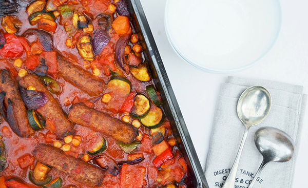 Roast vegetable, veggie sausage and chickpea bake