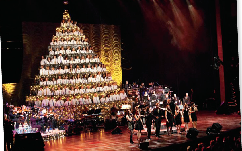 Canada Christmas singing tree. Alberta Jubilee auditorium