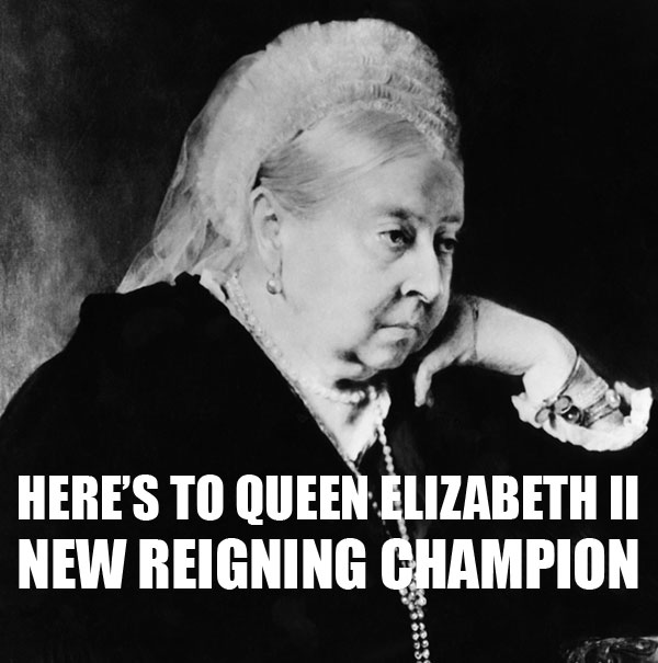 Queen Victoria, glum after losing the title of longest reigning monarch