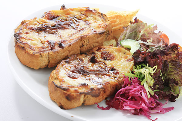 Stilton rarebit with pears and walnuts