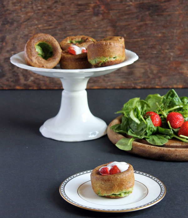 Spinach yorkshire puddings with roasted black pepper strawberris and yoghurt