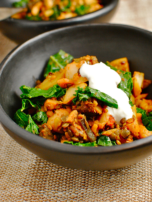 Tandoori Lentil potato and aubergine hash