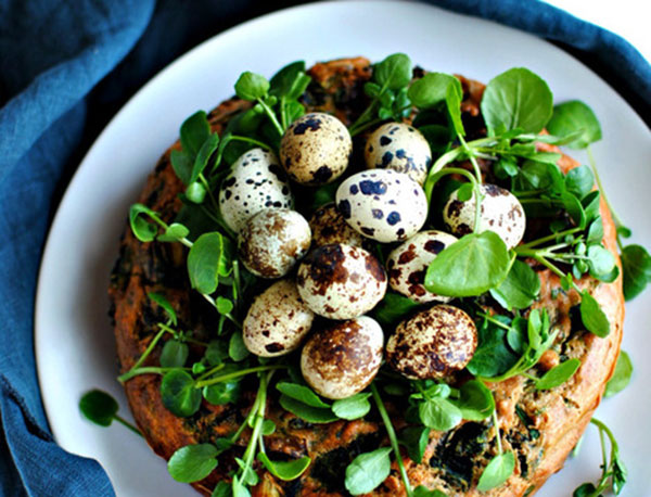 foraged savoury vegetable cake
