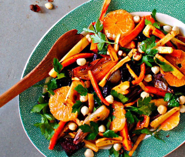 North African roasted winter salad
