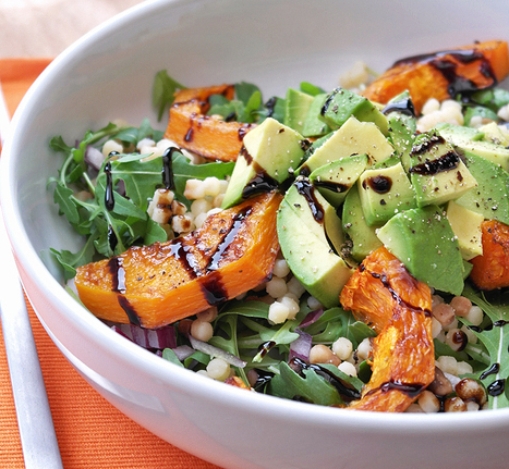 Butternut squash avocado and rocket salad with balsamic glaze