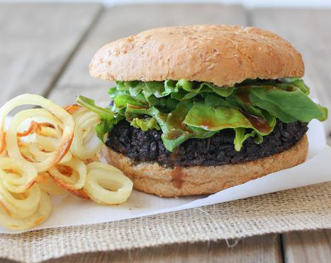Portabello black rice burger with miso balsamic and arugula