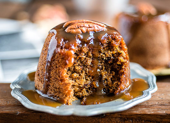 date and ginger sticky toffee pudding with brandy