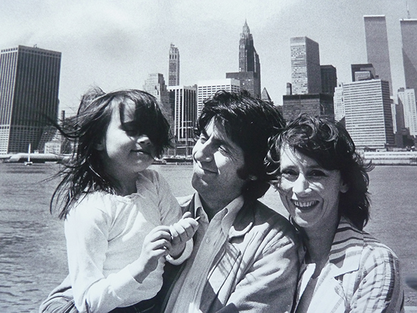 Family bliss: with daughter Nine and wife Kara in New York