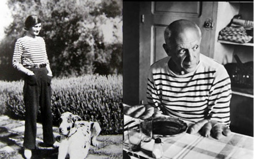 Coco Chanel and Pablo Picasso in stripes