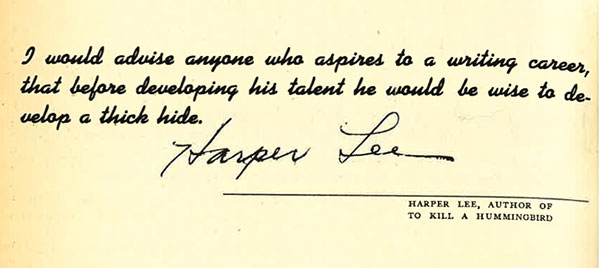 Harper Lee's advice to aspiring writers