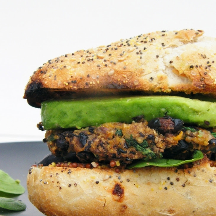Cajun spice black bean and sweet potato veggie burger