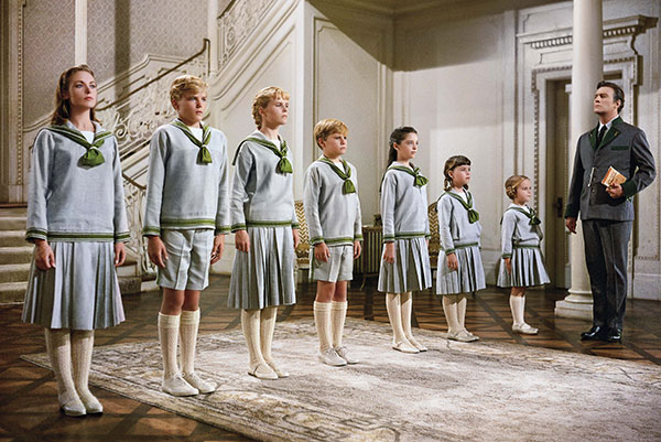 The von Trapp family in a line